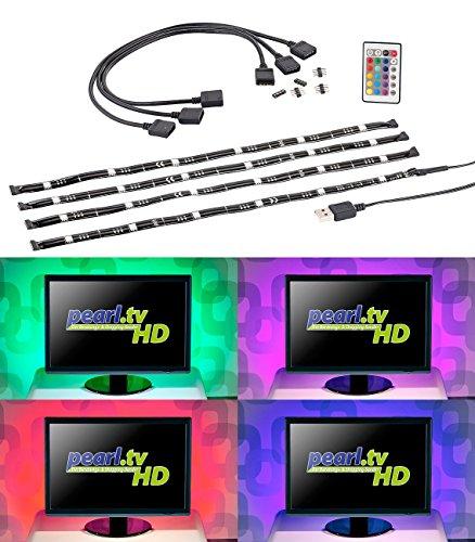 Lunartec TV Beleuchtung: TV-Hintergrundbeleuchtung mit 4 RGB-Leisten für 117-177 cm, USB (Fernsehhintergrundbeleuchtung) (Dick Reiniger)