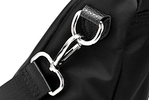 YAANCUN Donna Zaino In Pelle Scuola Università Zaini Vintage Backpack Per Ragazza Multifunzione Oxford Stoffa Nero 2