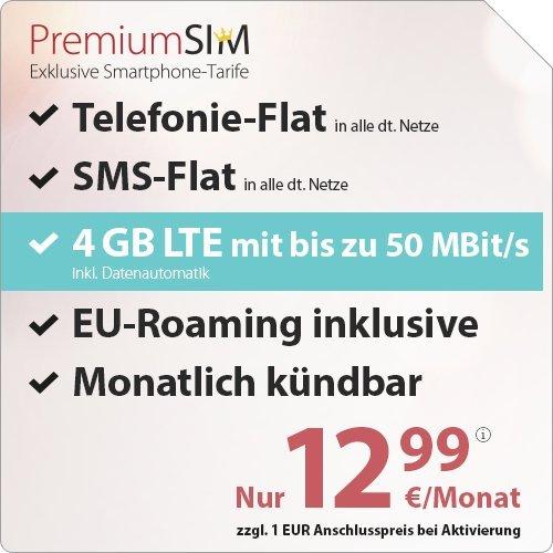 PremiumSIM LTE 3000 [SIM, Micro-SIM und Nano-SIM] monatlich kündbar (4 GB LTE mit max. 50 MBit/s inkl. Datenautomatik, Telefonie-Flat und SMS-Flat, EU-Roaming inklusive, 12,99 Euro/Monat)