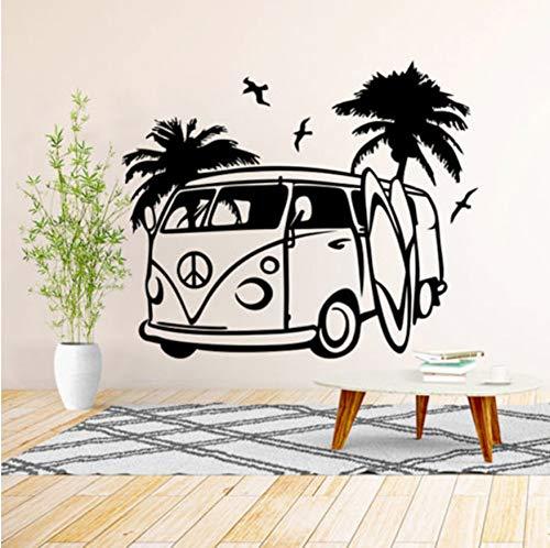 mping Wandkunst Aufkleber Kinder Und Kindergarten Vinyl Aufkleber Dekorative Wandbild Transfer Surf Strand 57X68 Cm ()