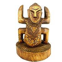 Coco Papaya Totem Ethnique en Bois - Statue Style Koh Lanta Artisanale.