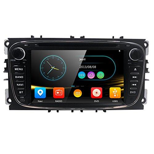 """Autoradio DVD Player mit GPS Navi für Ford Focus Mondeo Galaxy S-MAX Unterstützt DAB+ Bluetooth USB SD DVD CD Lenkradfernbedienung 7"""" Schwarz"""