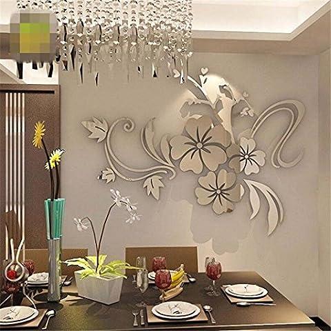 Ouneed® Wandaufkleber Wandtattoo Wandsticker , 3D Spiegel Blume Blumen Kunst Abnehmbare Wandaufkleber Acryl Mural Decal Home Zimmer Dekor