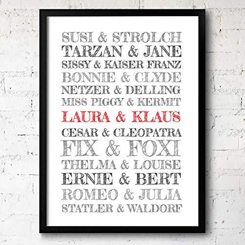 Goods & Gadgets Personalisiertes Traum-Paar Poster - Kunstdruck Bild für Verliebte; mit Holzrahmen gerahmt