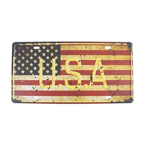 Shinewe USA Flagge License Plate Vintage Metall Schild Crafts der Garage Art 15 x 30 cm