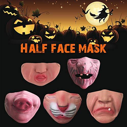 Kiss Kostüm Sexy - bulrusely Lustige Halbe Gesichtsmaske, Halloween Scary Maske, Lustige Halbe Gesicht Big Fat Nose Teeth Clown Maske, Für Bar Dance Party Cosplay Kostüm Halbmasken