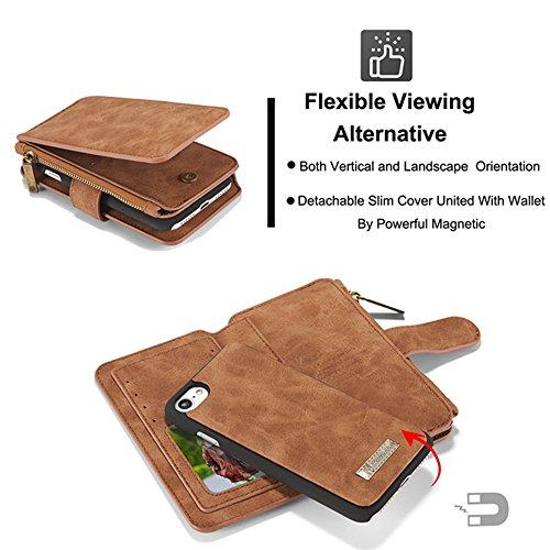 CaseMe Etui Protection Detachable Case Carte Slots Multifonctionnel Zipper Purse PU Couvertures en Cuir pour iPhone 7 Brun