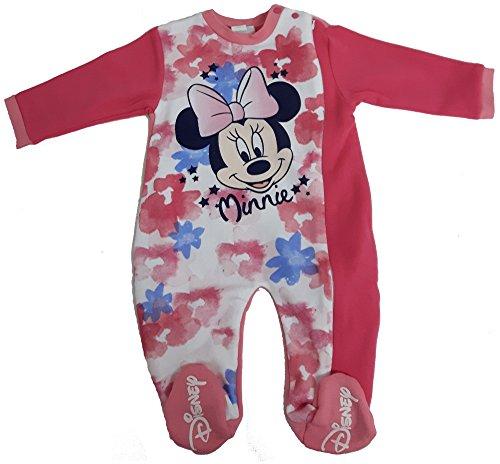 Disney tutina con piedini topolina minnie pigiamone caldo cotone con cerniera laterale neonat wd100981 (18 mesi, fragola)