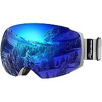 OutdoorMaster Occhiali da Sci PRO da Donna&Uomo, Occhiali da Snowboard con Sistema di scambio Magnetico, Protezione UV400(VLT 15% Lente Blu con Montatura Grigia con Copertura Protettiva Gratuita)