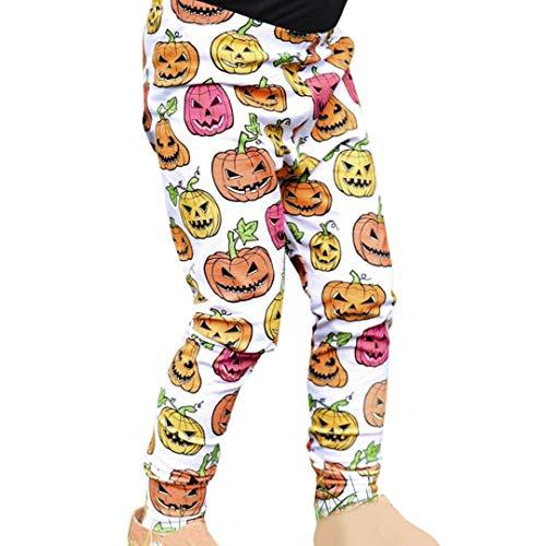 (Babykleidung Rosennie Kleinkind Kinder Baby Kürbis Mädchen Halloween Outfits dünne Hosen Leggings Kürbis Fledermaus Druck Lange Hosen Winter Unisex Baby Sweathose Pumphoseg(Orange))