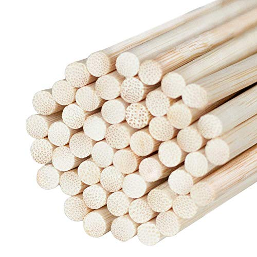 Festiko Natural Bamboo Dowel Sticks for Craft Projects | Craft Sticks | Project Dowel Sticks Made of Natural Bamboo (Pack of 50) | Photo Booth Props 12 x 1/4 Inch Wooden Dowels