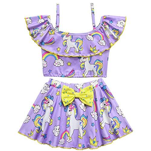 mama stadt Costume da Bagno 2 Pezzi per Bambina Unicorno Rainbow Tutu Costumi