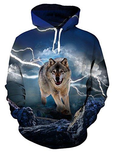 uideazone Teens Hoodie Printed Lighting Wolf Pullover Pullover Shirts Große Pullover Für Teens