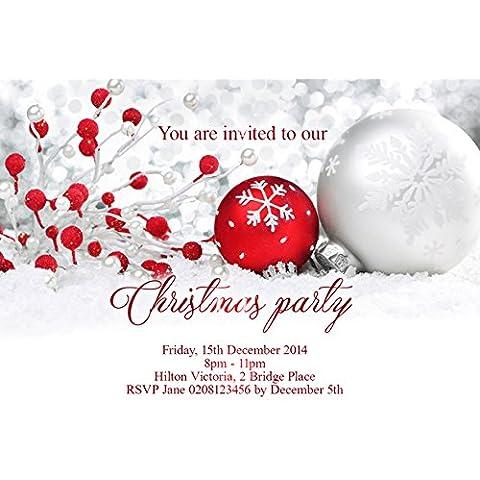 10x Personalizzato Natale Capodanno Inviti per feste (Bianco Della Carta Dell'invito)