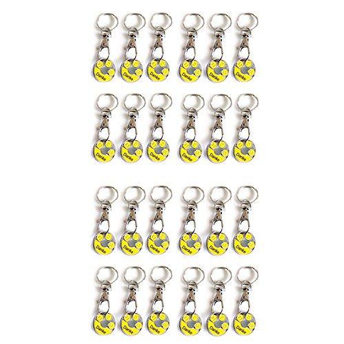 24 Niedliche Emoji - DANKE Smiley's   Geschenkanhänger   Trendy Dekor für Handtaschen, Schlüsselbund etc.   silber / gelb - handlackiert