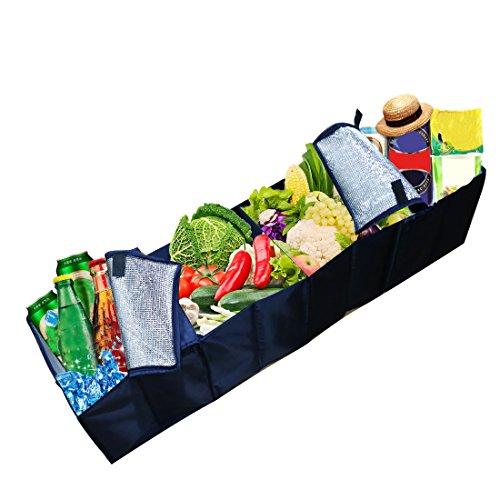 Kühlung, Lagerung (A-szcxtop Auto faltbar Aufbewahrungsbox, Kofferraum Organizer Zusammenklappbar faltbar Lagerung mit Kühlung und Isolation Fach für Auto, SUV, MINIVAN, Truck & Innen verwendet Organisieren Shopping Tidy)