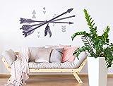 """I-love-Wandtattoo WAS-11801 Tatuaje de pared de salón """"Tres flechas con diseño indio"""" plumas motivo para pegar pegatina dormitorio plumas decoracion plumas vuelo zona de dormir pegatina en color"""