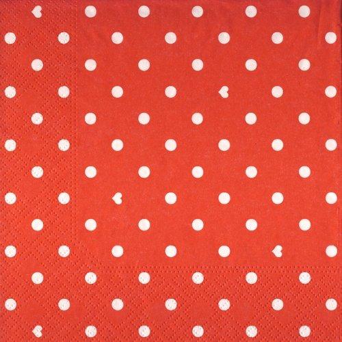 20 Servietten Hearts and Dots red - Herzen & Punkte rot / Muster 33x33cm Finden Sie Weitere Red Dot