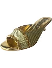 Step n Style Hombre Khussa Zapatos JUTTI étnico Sherwani zapatos de boda hecho a mano Tribal Indian, color Dorado, talla 40.5