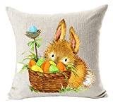 vintage cap Happy Easter Oil Painting Smile Bunny Color Egg and Butterflies Cotton Linen Square Decorative Throw Pillow Case Cushion Cover 18inchs (4)