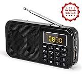 Radio J-725C Portable Radio-réveil FM/MP3/SD/USB PRUNUS avec Batterie de Grande Capacité(3000mAh). Lecture Longue Durée(Plus de 30 Heures).(Pas de Fonction de Mémoire Manuelle)