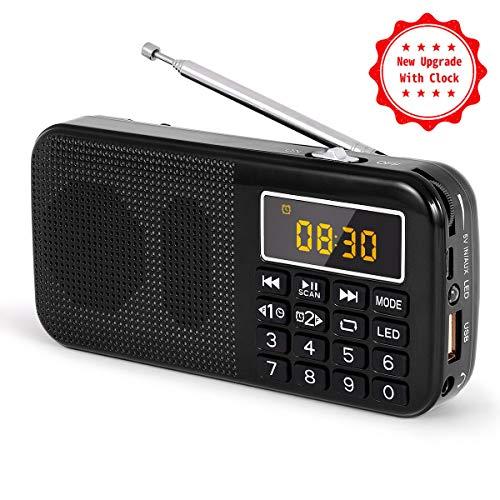 J-725C Radio FM portátil pequeña, radio de batería recargable digital con reloj despertador, linterna...
