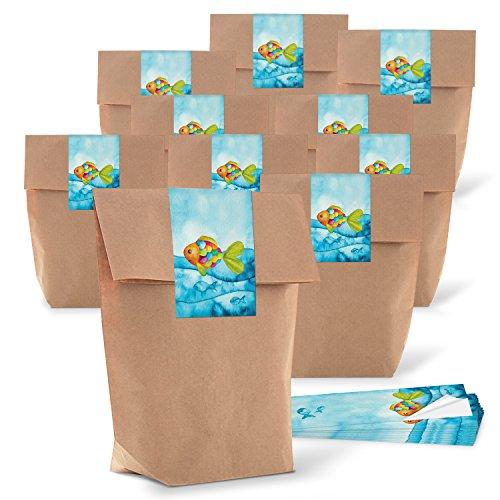 10 kleine braune Papier-Tüten 14 x 22 x 5,6 cm + blau türkise Regenbogen-Fisch SCHÖN DASS DU DA BIST Aufkleber Verpackung give-away Kinder Mitgebsel maritim Gastgeschenk Kommunion