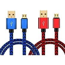 Cable Micro USB Carga Rápida de Nilón (2 Unidades), Cable USB Sincro y Carga para Mando PS4 PS4 Pro / Slim y Xbox One S / X, Dispositivos Android