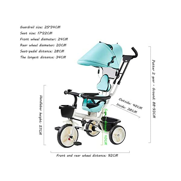 BGHKFF 4 In 1 Children's Hand Push Tricycle 1 To 6 Years 360° Swivelling Saddle Children's Pedal Tricycle Folding Sun Canopy 2-Point Safety Belt Folding Footrests Child Trike Maximum Weight 25 Kg,Red BGHKFF ★Material: Steel frame, suitable for children aged 1-6, maximum weight 25 kg ★ 4 in 1 multi-function: can be converted into a stroller and a tricycle. Remove the hand putter and awning, and the guardrail as a tricycle. ★Safety design: Golden triangle structure, safe and stable; front wheel clutch, will not hit the baby's foot; 2 point seat belt + guardrail; rear wheel double brake 4