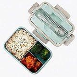 Scatole bento, sicurezza grano naturale 1000 ml lunch box contenitore alimentare ermetico con bacchette, cucchiaio per bambini e adulti, microonde, lavabile in lavastoviglie (Verde)