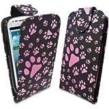 StyleBitz / Samsung Galaxy S3 Mini / S III Mini / Modischen Pink & SCHWARZEN Pfotenabdruck Flip Case / NEU