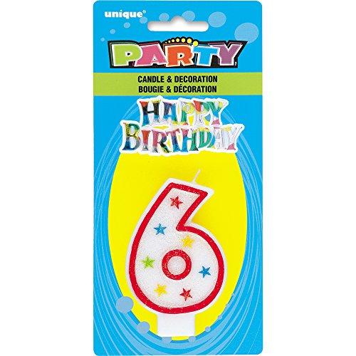 Unique Party - 37316 - Bougie à Paillettes d'Anniversaire Numéro 6 et Décoration pour Gâteau - Happy Birthday 0011179373161