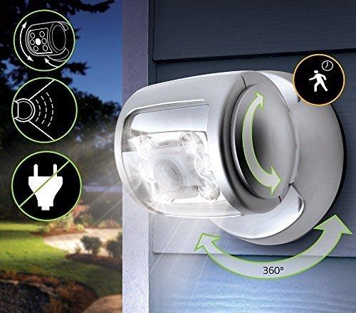 Bewegungsmelder Licht 6 LED Silber Sicherheit Licht Outdoor - Batterie Betrieben Rotation Sehr Helle Nachtlicht für Gehweg, Garten oder Terrasse von Trimming Shop (Packung zu 2) - Outdoor Motion Sensor