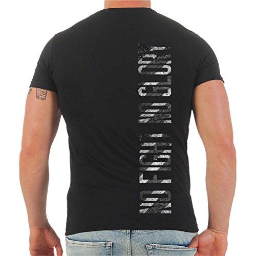 Männer und Herren T-Shirt No Fight No Glory You Must Fight (mit Rückendruck) Größe S - 8XL V-Neck schwarz