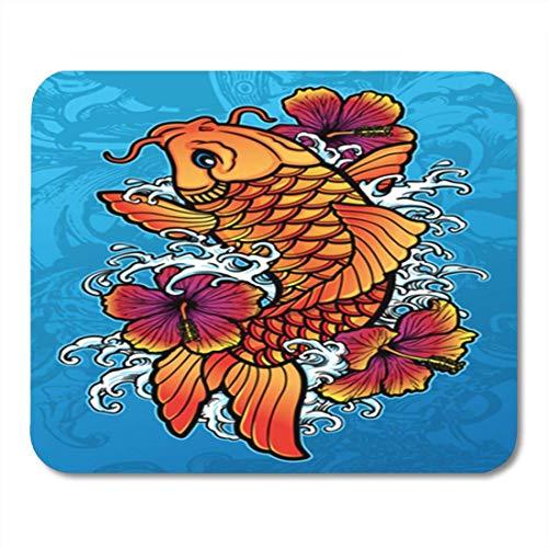 AOCCK Gaming Mauspads Tattoo Koi Hibiscus Fish Japanese Japan Chinese Carp Oriental 11.8