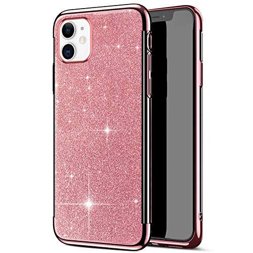 Uposao Kompatibel mit iPhone 11 Hülle Schutzhülle Glitzer Strass Silikon Handyhülle Transparent Crystal Clear Durchsichtig TPU Silikon Hülle Stoßfest Case Backcover,Rose Gold