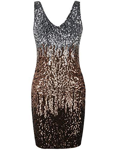 PrettyGuide Damen reizvoller tiefer V-Ausschnitt Pailletten Glitzer Bodycon Stretchy Minipartei-Kleid L Silber/Rosé Gold/Kaffee