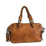 Medicate® 15 | Handtasche, Cognacfarben aus hochwertigem Leder in bester Qualität, handgearbeitet mit verstellbarem Tragegurt und Reißverschluß