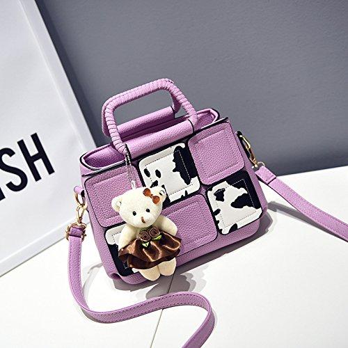 HQYSS Damen-handtaschen PU Leder Cuta Cartoon Milch Frauen Schulter Handtasche Messenger light purple