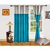 Dekor World Silver Turquis Curtain & Cushion Combo- 4Pcs Set