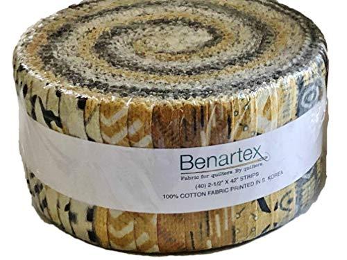 Benartex Sevilla Mellow Yellows Pinwheel Jelly Roll zum Quilten und Nähen, zeitgenössische Kollektion von Andrea Komninos 40, 6,3 x 106,7 cm (Quilten Stoff Jelly Rolls)
