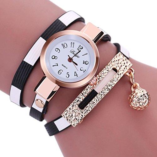 Damen Uhren, Kingwo Frauen neue Weihnachten Mode Charm Wrap Around Leatheroid Quarz-Armbanduhr (A)
