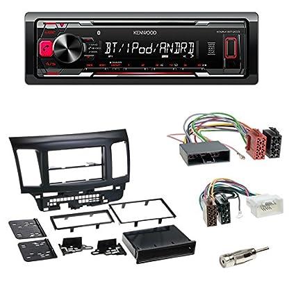 Einbauset-Kenwood-KMM-BT204-Bluetooth-USB-Radio-Tuner-Radioblende-Fach-schwarz-ISO-Adapter-Antennenadapter-ISO-DIN-fr-Mitsubishi-Lancer-CYO-ab-112007