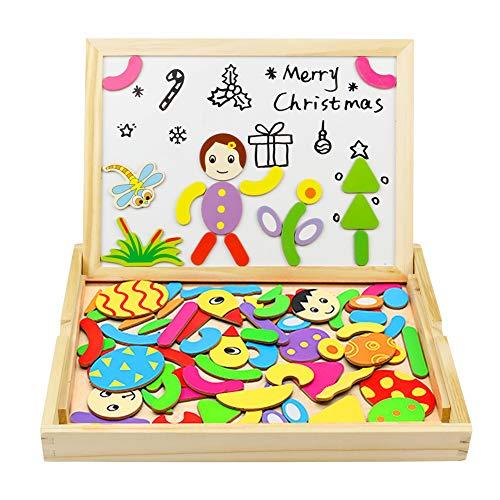 yoptote Magnetisches Doppelseitige Holzpuzzle Spielzeug Pädagogische Lernspiel Staffelei Doodle Puzzle aus Holz Tolles Geschenk für Baby Kleinkinder ab 3 Jahre