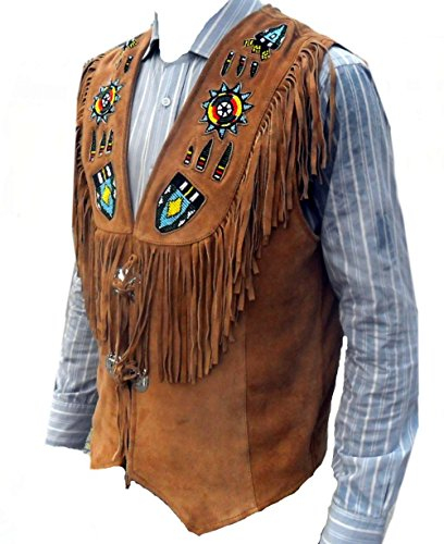 Celebrita X Genuine Leather Vest Western Excellente Perles travail et frangée Daim Brun