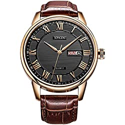 Mens Day Date Wrist Watches with Black Dial Roman Numerals Brown Leather Strap SONGDU