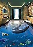 Malilove 3d-PVC Bodenbeläge custom Wall Sticker 3d Delfine Unterwasserwelt 3d Badezimmer Bodenbeläge malen Fototapete für Wände 3d