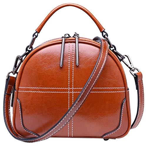 Umhängetasche Retro Mini Broadband Leder Handtasche Schultertasche für Frauen und Mädchen Cadeau De La Fête des Mères (Color : Brown, Size : S)