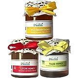 Farm Naturelle-Raw Natural Unprocessed Tulsi Forest Flower Honey & Wild Berry (Sidr) Flower Forest Honey & Litchi...