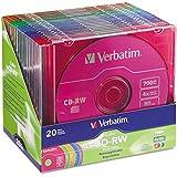 Verbatim 94300 CD-RW Discs, 700MB/80min, 4X, Slim Jewel Case, Assorted Colors, 20/Pack